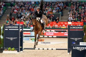 The 3rd place Niklas Krieg (GER) with the horse Carella, Longines FEI World Cup Jumping - Leipzig - Partner Pferd 2017 (Photo: FEI/Stefan Lafrentz)